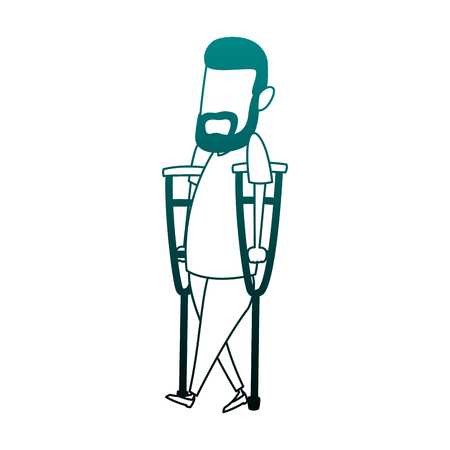 Man with crutches cartoon vector illustration graphic design