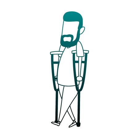 Man with crutches cartoon vector illustration graphic design