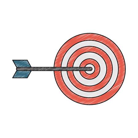 Progettazione grafica dell'illustrazione di vettore di simbolo del bersaglio dell'obiettivo Vettoriali