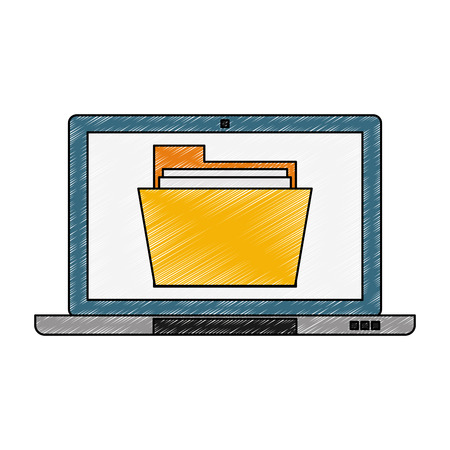 Laptop with documents vector illustration graphic design