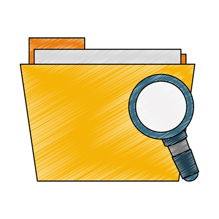 Folder with magnifying glass vector illustration graphic design