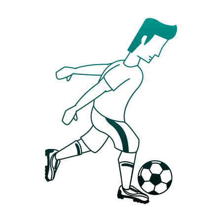 Soccer player with ball cartoon vector illustration graphic design