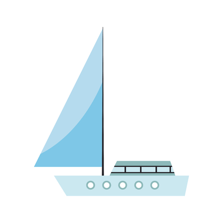 Sail boat cartoon vector illustration graphic design