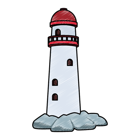 Lighthouse cartoon isolated vector illustration graphic design