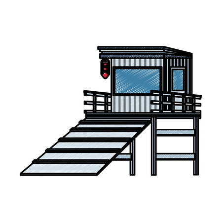 lifeguard house isolated vector illustration graphic design Vettoriali