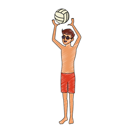 Young man in swim suit with voleyball ball vector illustration graphic design