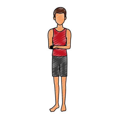 Young  man  with summer clothes vector illustration graphic design  イラスト・ベクター素材