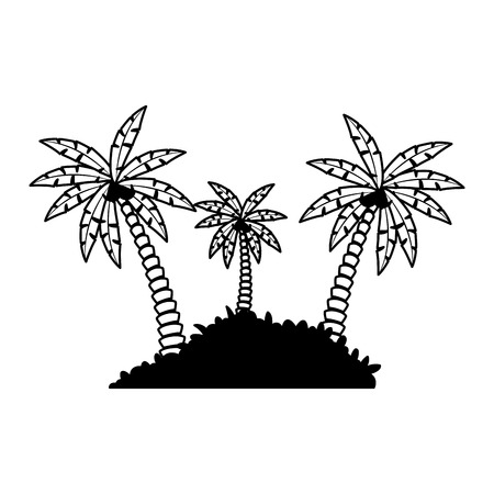 Beach palms with bush vector illustration graphic design Vektorové ilustrace
