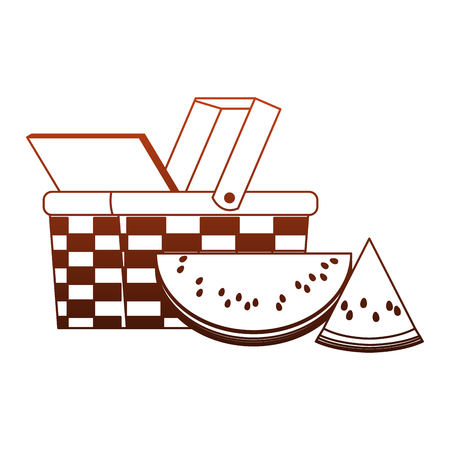 Picnic basket with watermelons vector illustration graphic design