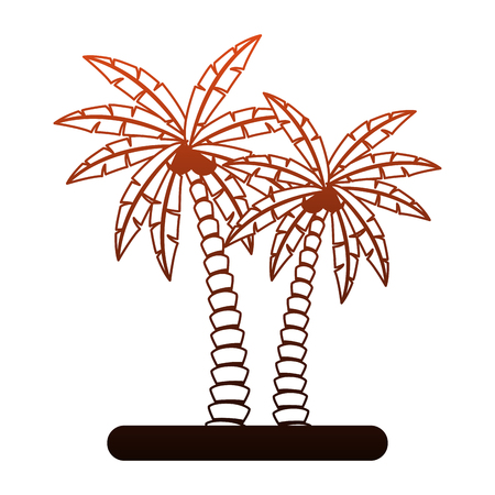 Beach palm trees vector illustration graphic design