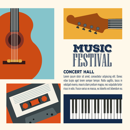 Music festival concert hall flyer vector illustration graphic design Stock Illustratie