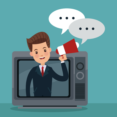 Businessman promoting on tv vector illustration graphic design