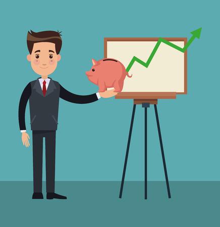Businessman with savings and statistics cartoon vector illustration graphic design