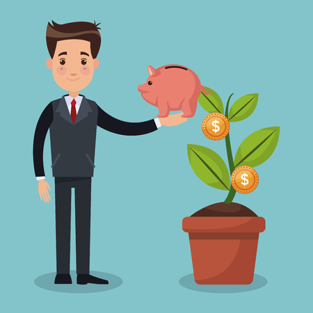 Businessman with piggy and money plant pot vector illustration graphic design Illustration