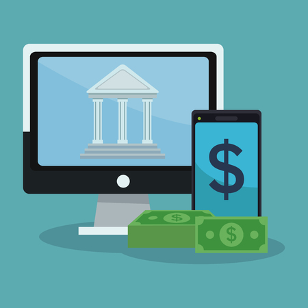 Bank online application from smartphone vector illustration graphic design