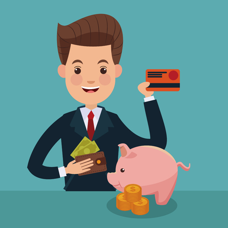 Businessman with credit card and savings vector illustration graphic design