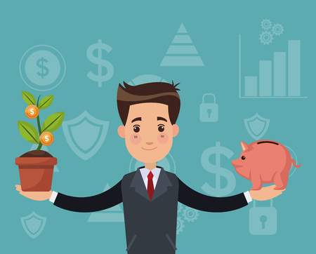 Businessman with savings and money plant vector illustration graphic design
