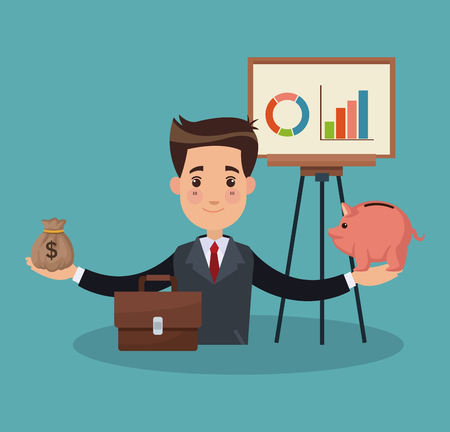 Businessman with piggy and money bag vector illustration graphic design