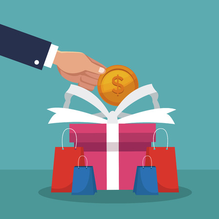 Hand shopping gifts with cash vector illustration graphic design
