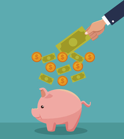 Hand saving money cartoons concept vector illustration graphic design