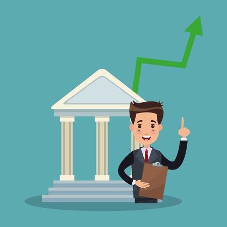 Businessman in bank vector illustration graphic design Illustration