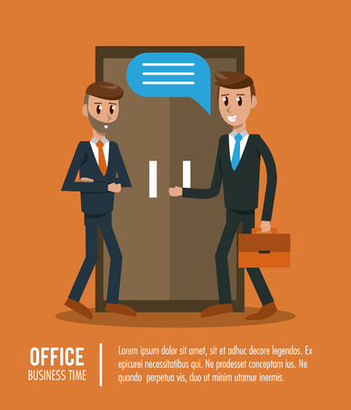 Business workers in office banner information vector illustration graphic design
