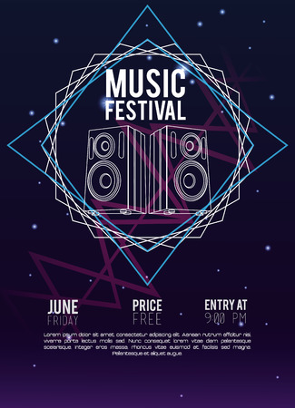 Festival music flyer techno concept vector illustration graphic design Vettoriali