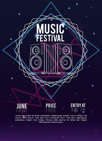 Festival music flyer techno concept vector illustration graphic design Illustration