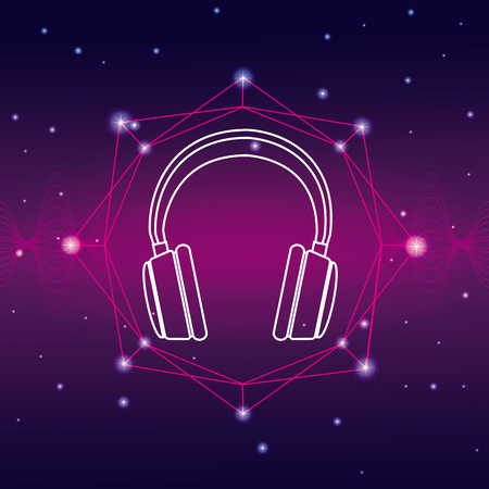 Headphones music technology emblem vector illustration graphic design