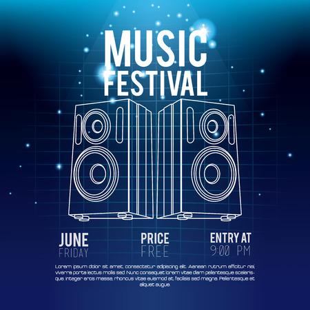 Festival music flyer techno concept vector illustration graphic design  イラスト・ベクター素材