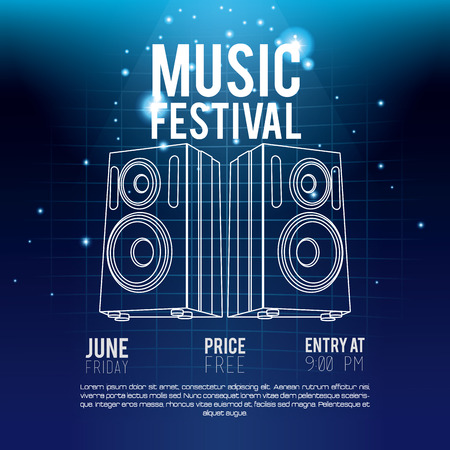 Festival music flyer techno concept vector illustration graphic design