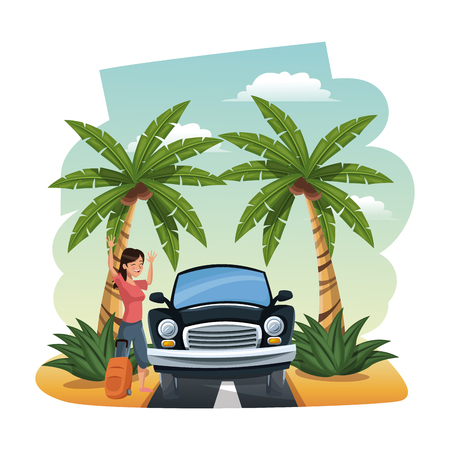 Woman with car traveling to the beach vector illustration graphic design