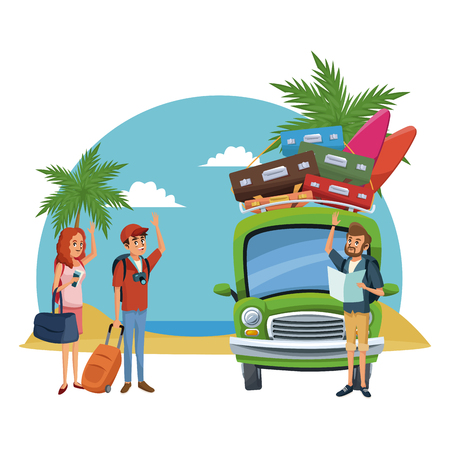Friends traveling to the beach with car vector illustration graphic design Vettoriali