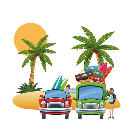 Beach and friends cartoons vector illustration graphic design