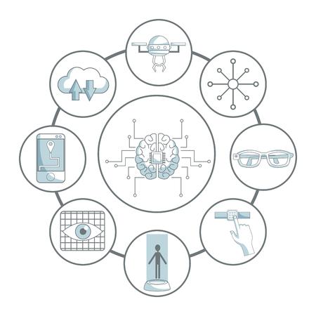 Artificial intelligence technology round symbols vector illustration graphic design