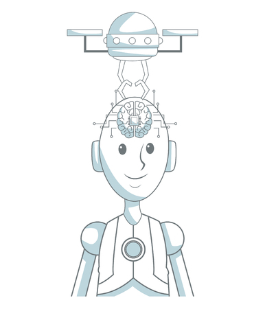 Dron eextracting artificial brain to robot vector illustration graphic design