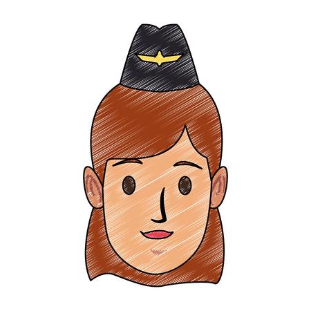 スチュワーデス女性顔ベクトルイラストグラフィックデザイン