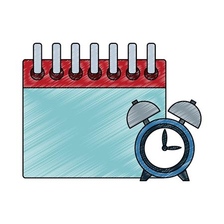 Calendar and alarm clock vector illustration graphic design Illustration
