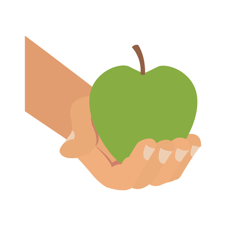Hand holding apple vector illustration graphic design