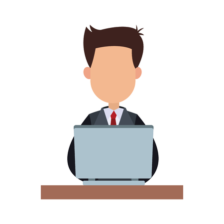Businessman working in laptop vector illustration graphic design