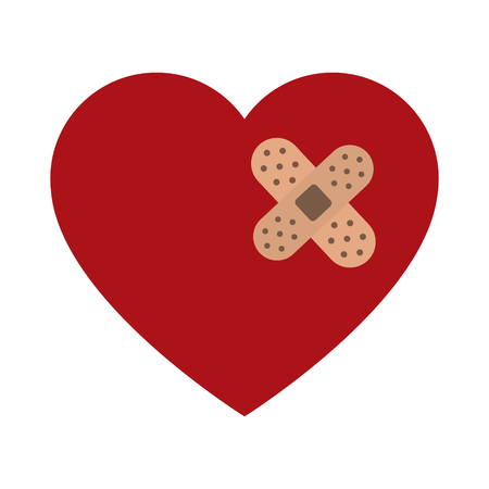 Heart with bandage vector illustration graphic design