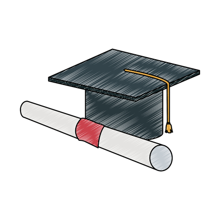 Graduation cap and diploma vector illustration graphic design