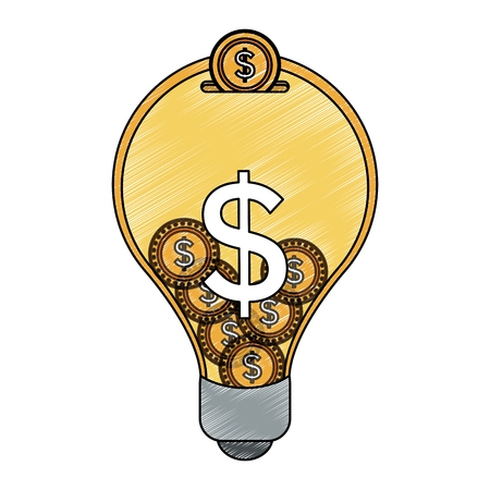 Light bulb with coins inside vector illustration graphic design