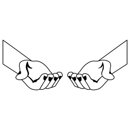 Hands with palms open vector illustration graphic design