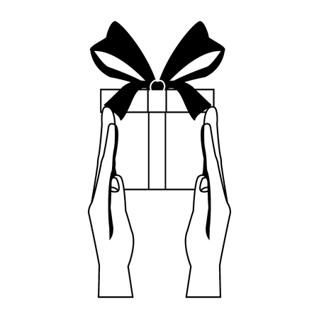 Hands with giftbox vector illustration graphic design