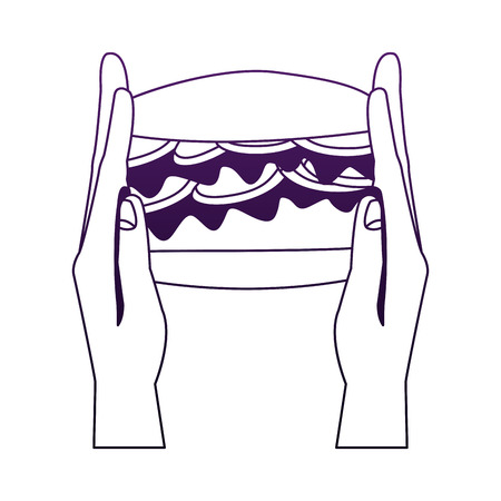 Hand holding hamburger vector illustration graphic design