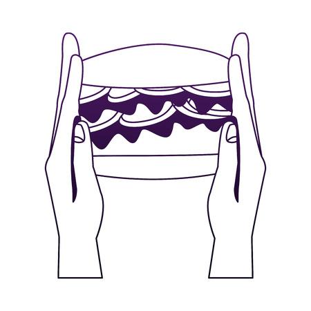 Hand holding hamburger vector illustration graphic design