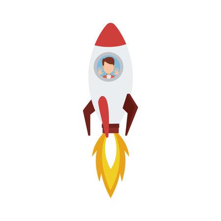 Businessman inside rocket cartoon vector illustration graphic design