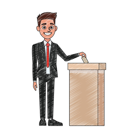 Politician voting cartoon vector illustration graphic design