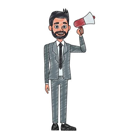 Politician speaking with bullhorn vector illustration graphic design Иллюстрация